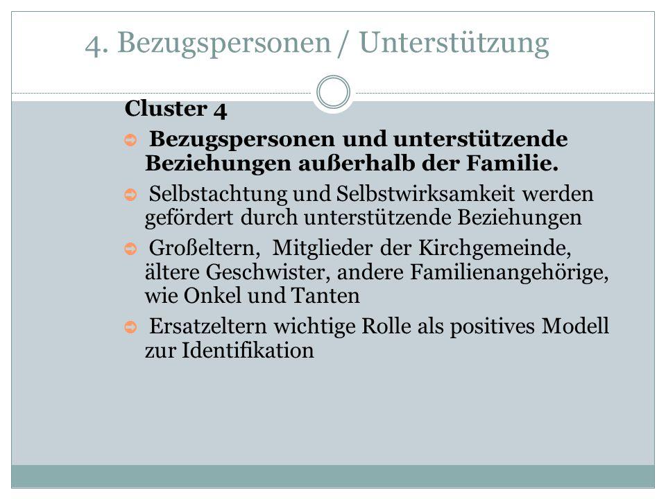 4. Bezugspersonen / Unterstützung Cluster 4 ➲ Bezugspersonen und unterstützende Beziehungen außerhalb der Familie. ➲ Selbstachtung und Selbstwirksamke