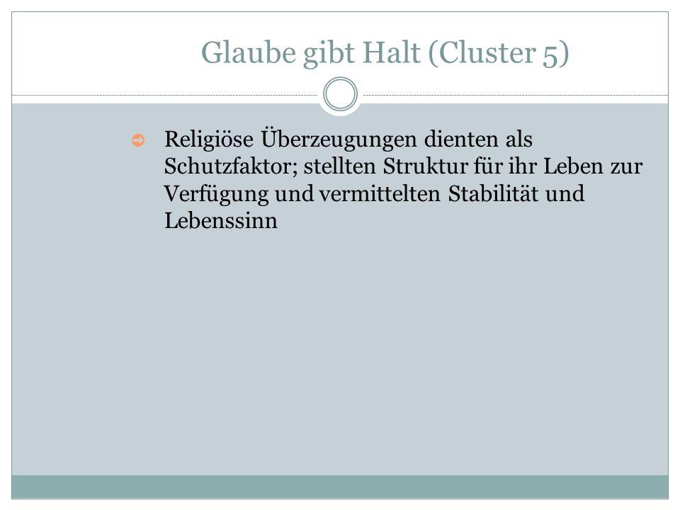 Glaube gibt Halt (Cluster 5) ➲ Religiöse Überzeugungen dienten als Schutzfaktor; stellten Struktur für ihr Leben zur Verfügung und vermittelten Stabil