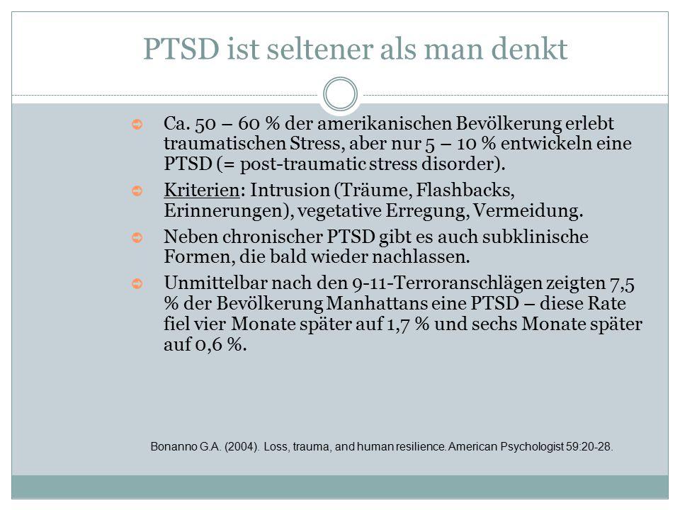 PTSD ist seltener als man denkt ➲ Ca. 50 – 60 % der amerikanischen Bevölkerung erlebt traumatischen Stress, aber nur 5 – 10 % entwickeln eine PTSD (=