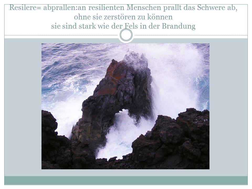 Resilere= abprallen:an resilienten Menschen prallt das Schwere ab, ohne sie zerstören zu können sie sind stark wie der Fels in der Brandung