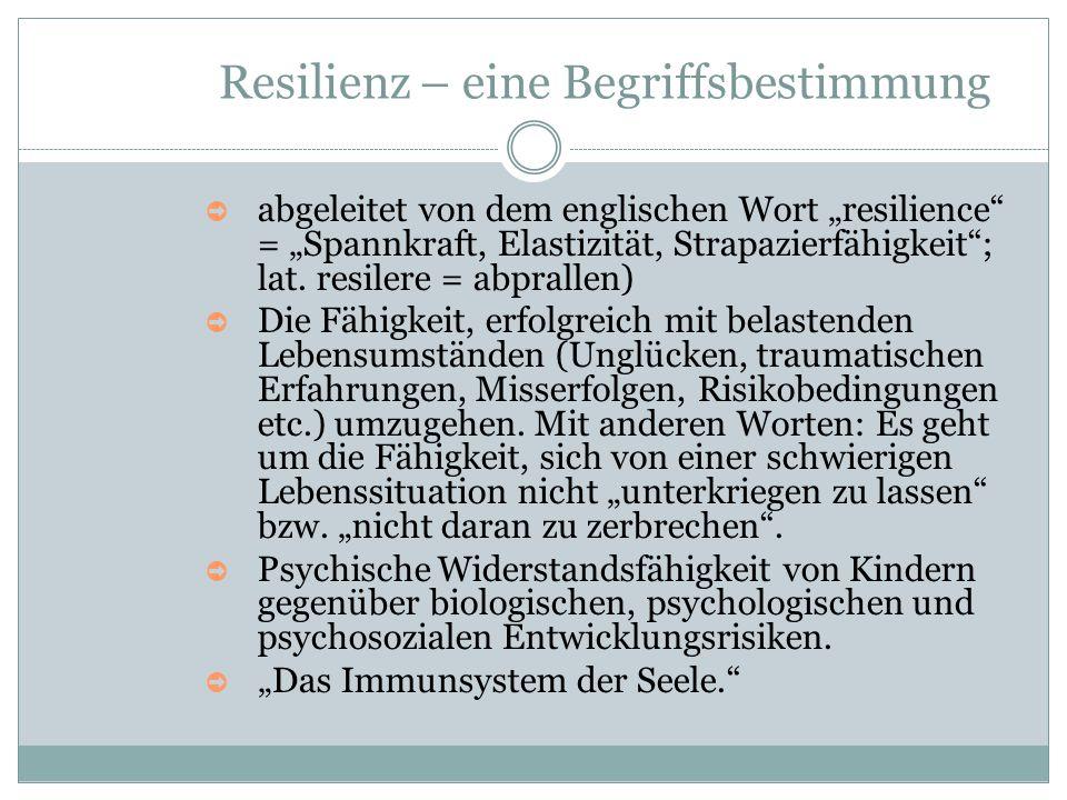 """Resilienz – eine Begriffsbestimmung ➲ abgeleitet von dem englischen Wort """"resilience"""" = """"Spannkraft, Elastizität, Strapazierfähigkeit""""; lat. resilere"""