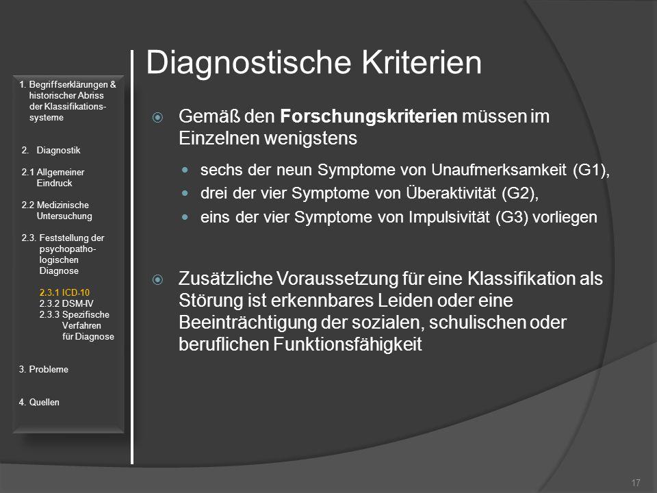 Diagnostische Kriterien  Gemäß den Forschungskriterien müssen im Einzelnen wenigstens sechs der neun Symptome von Unaufmerksamkeit (G1), drei der vie