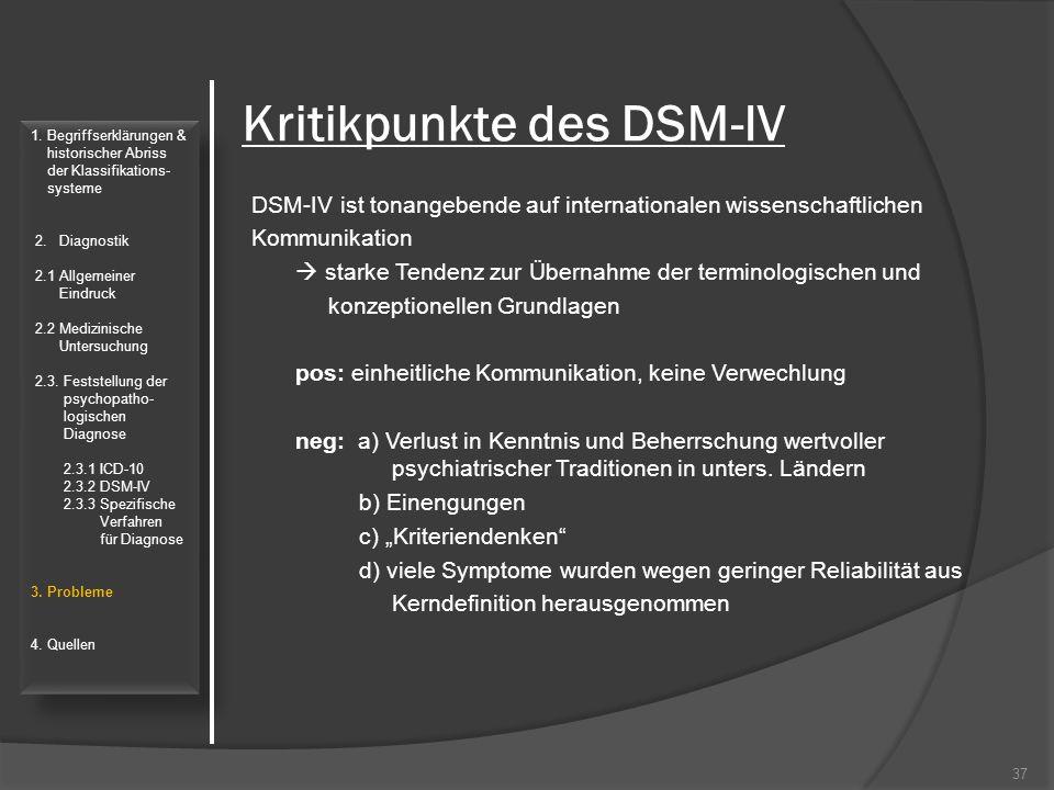 Kritikpunkte des DSM-IV DSM-IV ist tonangebende auf internationalen wissenschaftlichen Kommunikation  starke Tendenz zur Übernahme der terminologisch