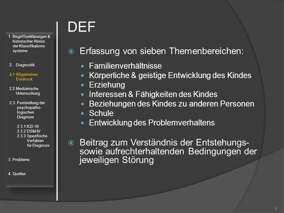 DEF  Erfassung von sieben Themenbereichen: Familienverhältnisse Körperliche & geistige Entwicklung des Kindes Erziehung Interessen & Fähigkeiten des