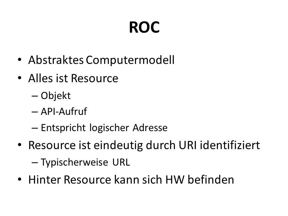 ROC Abstraktes Computermodell Alles ist Resource – Objekt – API-Aufruf – Entspricht logischer Adresse Resource ist eindeutig durch URI identifiziert – Typischerweise URL Hinter Resource kann sich HW befinden