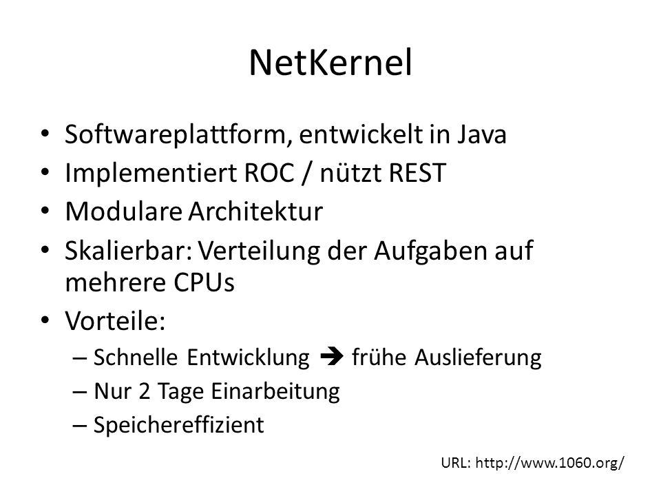 NetKernel Softwareplattform, entwickelt in Java Implementiert ROC / nützt REST Modulare Architektur Skalierbar: Verteilung der Aufgaben auf mehrere CPUs Vorteile: – Schnelle Entwicklung  frühe Auslieferung – Nur 2 Tage Einarbeitung – Speichereffizient URL: http://www.1060.org/