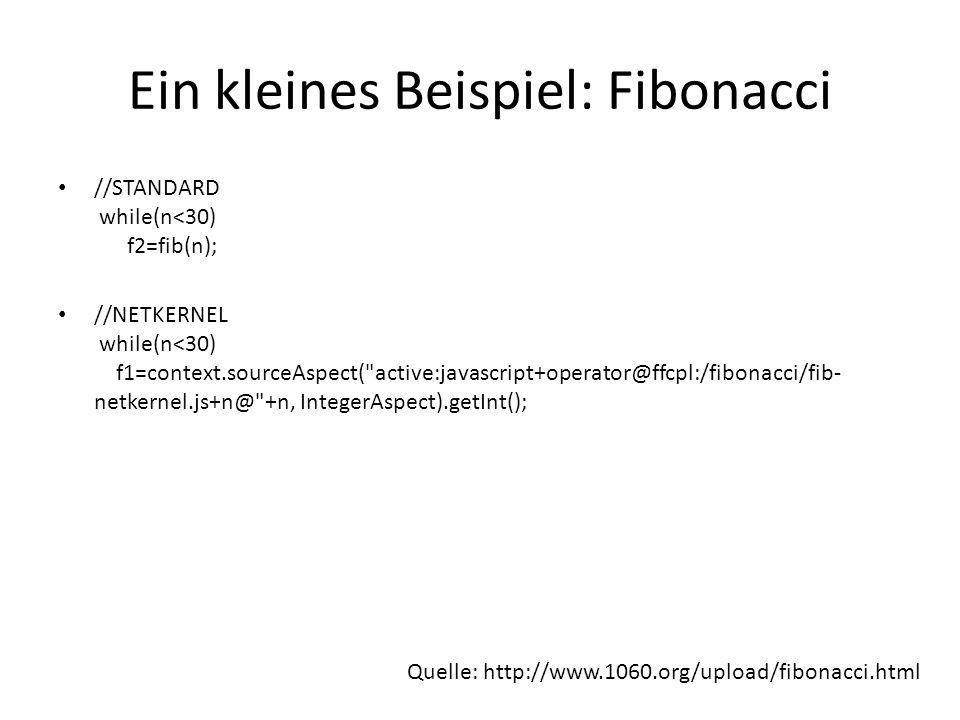 Ein kleines Beispiel: Fibonacci //STANDARD while(n<30) f2=fib(n); //NETKERNEL while(n<30) f1=context.sourceAspect( active:javascript+operator@ffcpl:/fibonacci/fib- netkernel.js+n@ +n, IntegerAspect).getInt(); Quelle: http://www.1060.org/upload/fibonacci.html