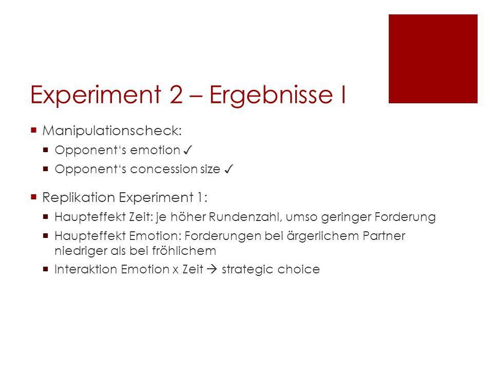 Experiment 2 – Ergebnisse I  Manipulationscheck:  Opponent's emotion ✓  Opponent's concession size ✓  Replikation Experiment 1:  Haupteffekt Zeit
