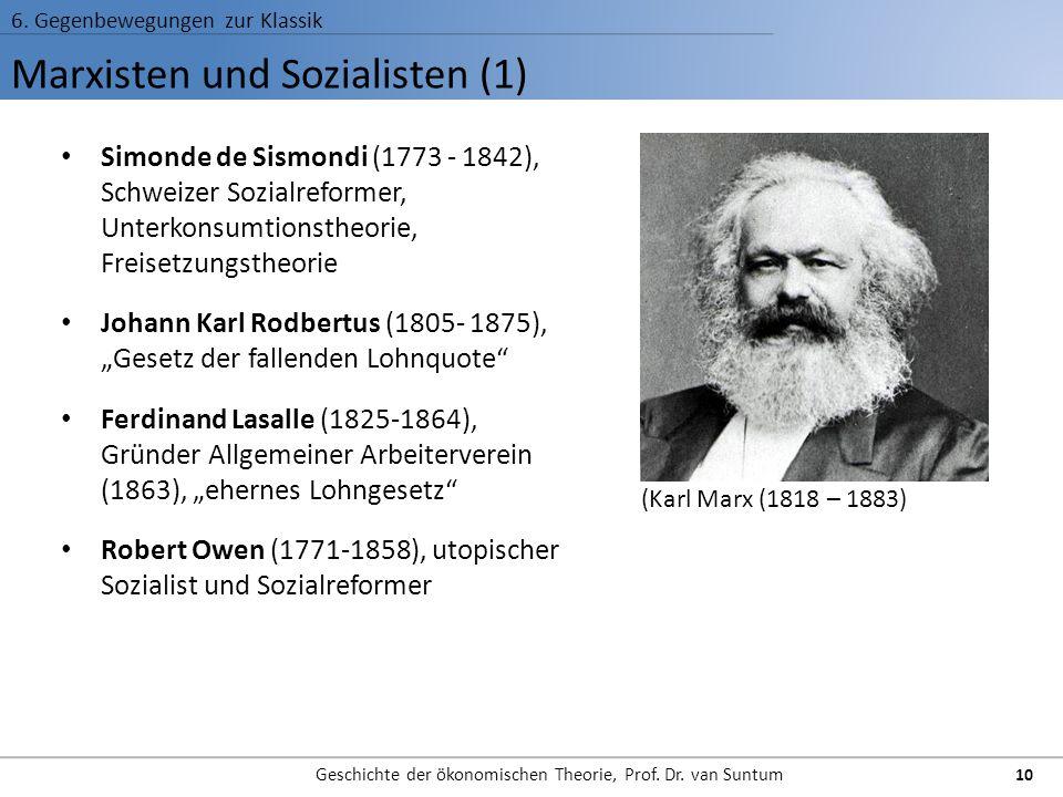 Marxisten und Sozialisten (1) 6. Gegenbewegungen zur Klassik Geschichte der ökonomischen Theorie, Prof. Dr. van Suntum 10 Simonde de Sismondi (1773 -