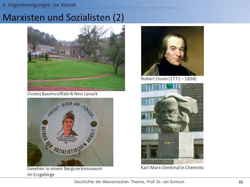 Marxisten und Sozialisten (2) 6. Gegenbewegungen zur Klassik Geschichte der ökonomischen Theorie, Prof. Dr. van Suntum 11 Owens Baumwollfabrik New Lan