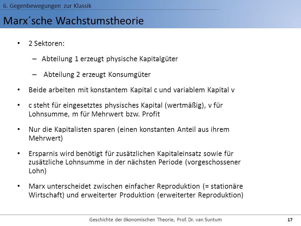 Marx´sche Wachstumstheorie 6. Gegenbewegungen zur Klassik Geschichte der ökonomischen Theorie, Prof. Dr. van Suntum 17 2 Sektoren: – Abteilung 1 erzeu