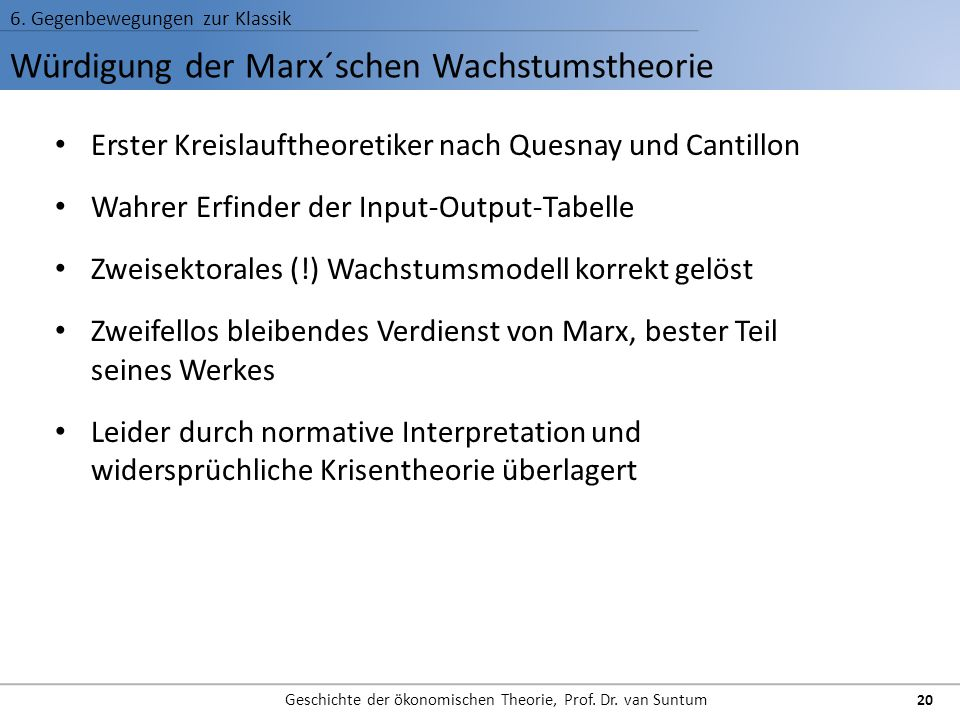 Würdigung der Marx´schen Wachstumstheorie 6. Gegenbewegungen zur Klassik Geschichte der ökonomischen Theorie, Prof. Dr. van Suntum 20 Erster Kreislauf
