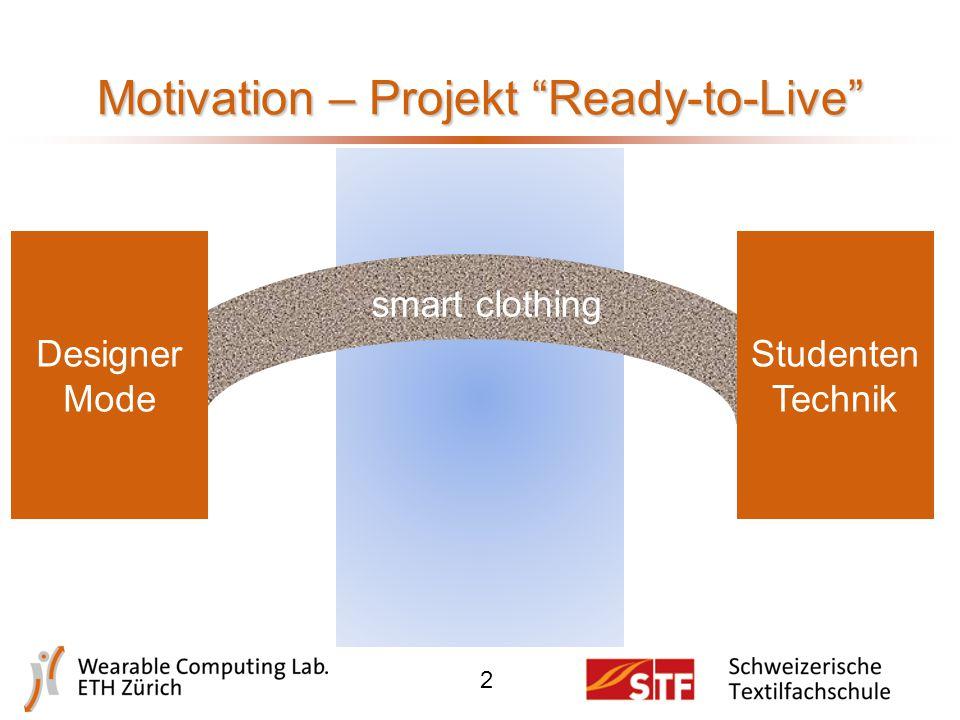 Motivation – Projekt Ready-to-Live 2 smart clothing Designer Mode Studenten Technik