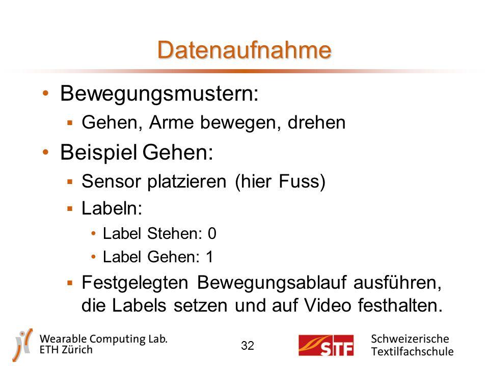 Sensoren Beschleunigung 3-Achsen Sampling Rate 64Hz Bluetooth Reichweite ca. 10m 31
