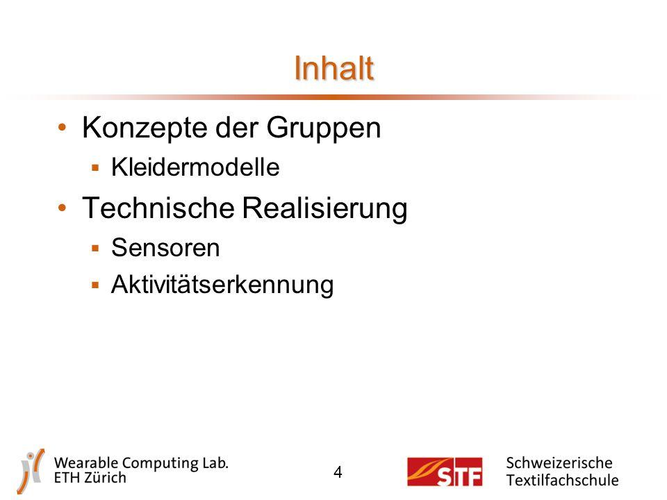 Inhalt Konzepte der Gruppen  Kleidermodelle Technische Realisierung  Sensoren  Aktivitätserkennung 4