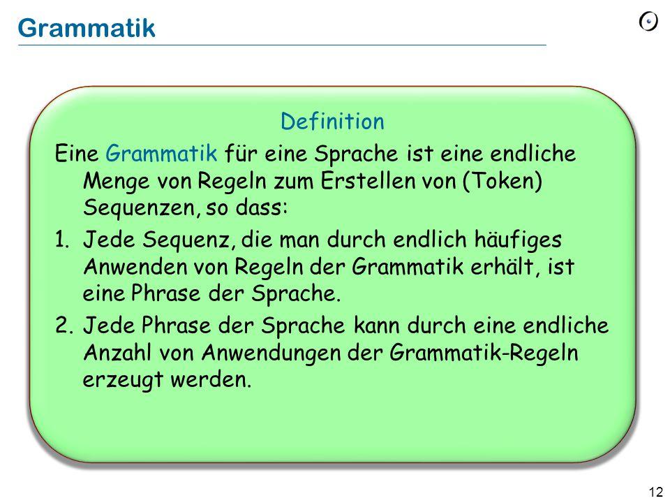 13 Elemente von Grammatiken: Terminale Terminale Zeichen der Sprache, die nicht durch eine Produktion der Grammatik definiert sind.