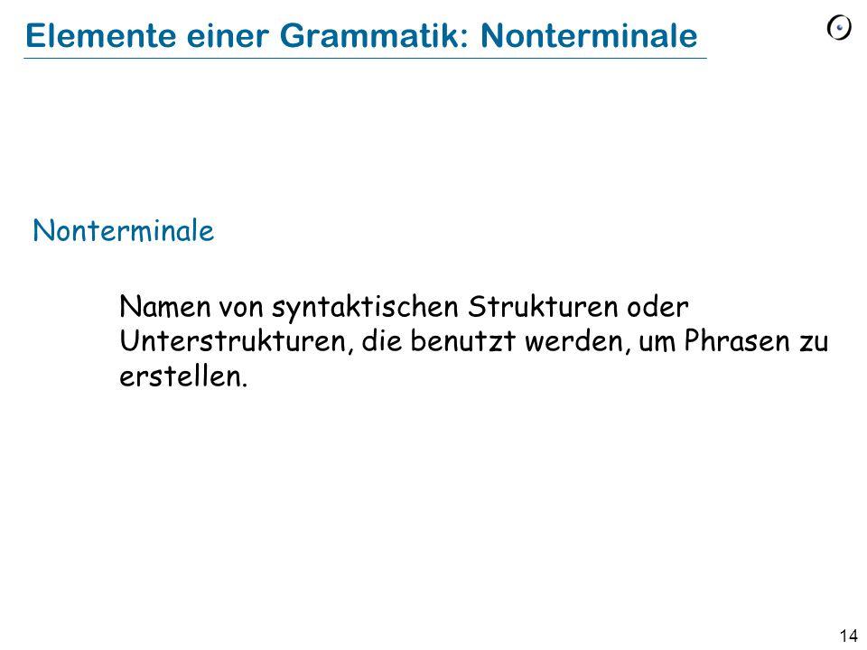 14 Elemente einer Grammatik: Nonterminale Nonterminale Namen von syntaktischen Strukturen oder Unterstrukturen, die benutzt werden, um Phrasen zu erst