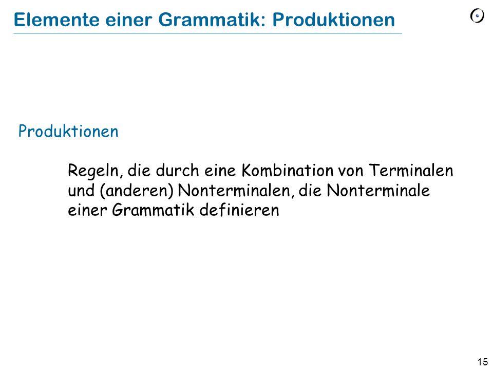 15 Elemente einer Grammatik: Produktionen Produktionen Regeln, die durch eine Kombination von Terminalen und (anderen) Nonterminalen, die Nonterminale
