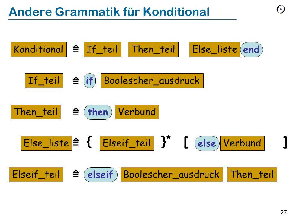 27 Andere Grammatik für Konditional Konditional If_teil Then_teil Else_liste Elseif_teil Boolescher_ausdruck if If_teilThen_teilElse_liste end Verbund