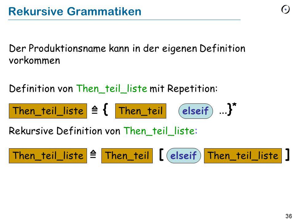 36 Der Produktionsname kann in der eigenen Definition vorkommen Definition von Then_teil_liste mit Repetition: Rekursive Definition von Then_teil_list