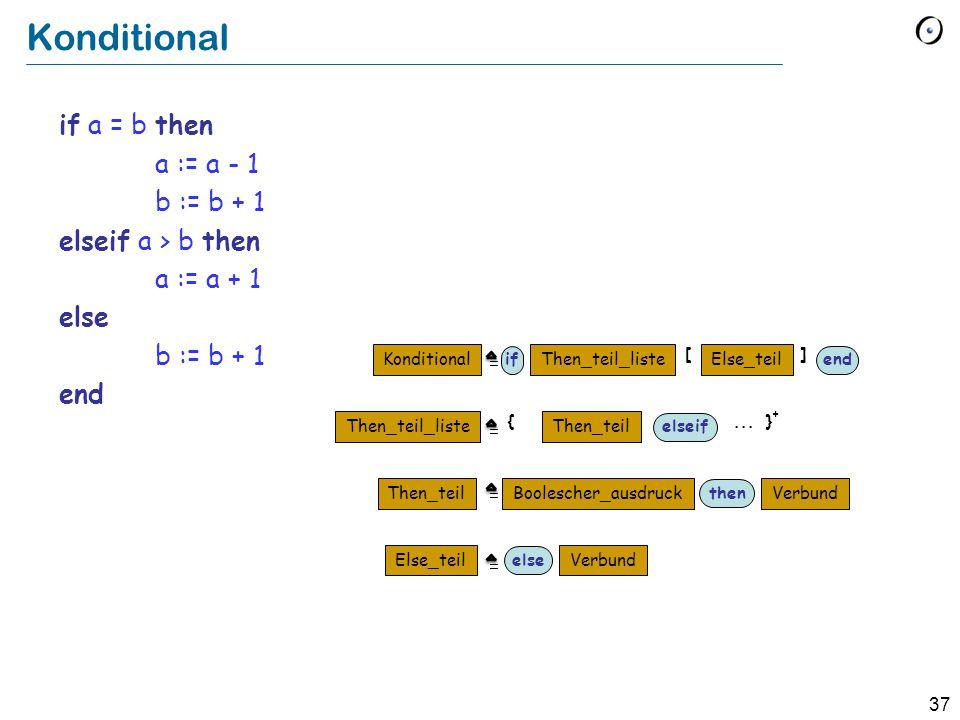 37 Konditional if a = b then a := a - 1 b := b + 1 elseif a > b then a := a + 1 else b := b + 1 end Konditional Then_teil_liste Else_teilThen_teil_lis
