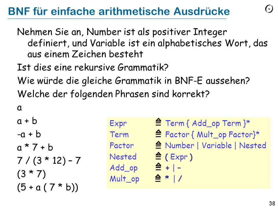 39 BNF für einfache arithmetische Ausdrücke (Lösung) Expr {Term Add_op …} + Term { Factor Mult_op …} + Factor Number | Variable | Nested Nested ( Expr ) Add_op + | – Mult_op * | / Ist dies eine rekursive Grammatik.
