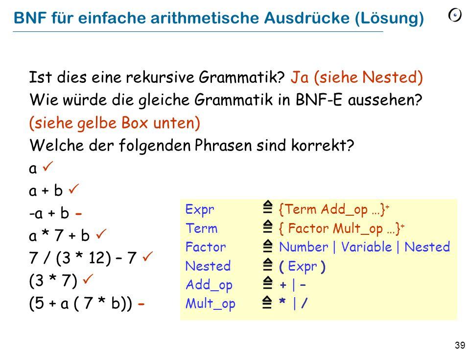 39 BNF für einfache arithmetische Ausdrücke (Lösung) Expr {Term Add_op …} + Term { Factor Mult_op …} + Factor Number | Variable | Nested Nested ( Expr