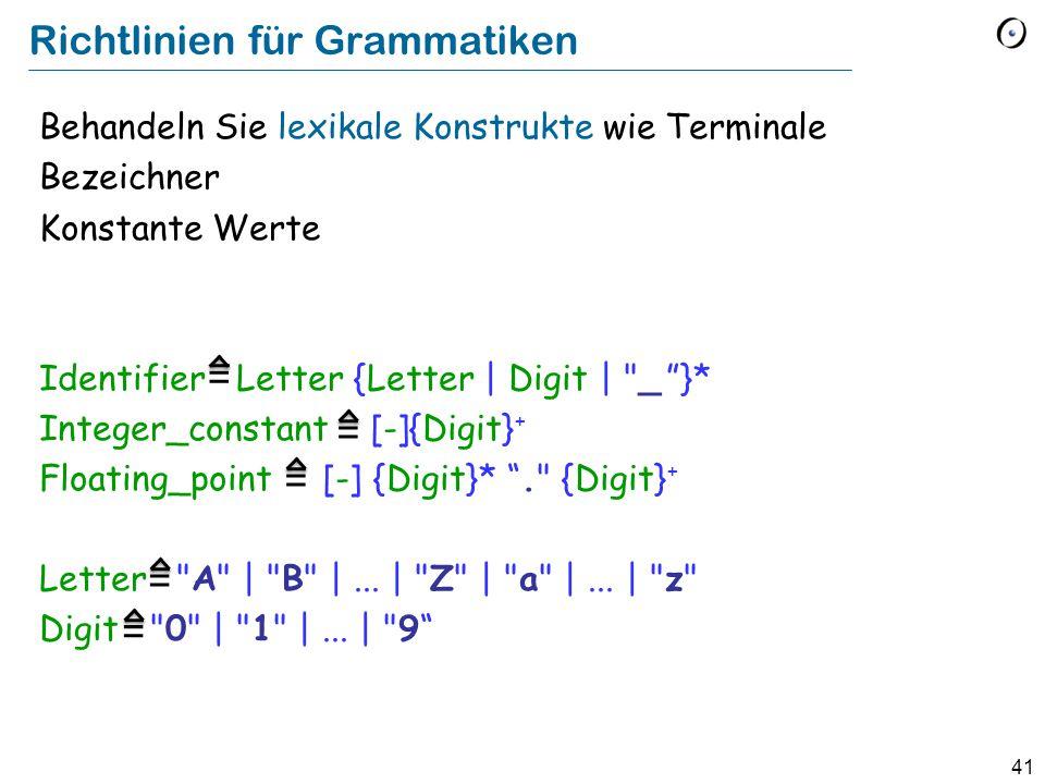 41 Richtlinien für Grammatiken Behandeln Sie lexikale Konstrukte wie Terminale Bezeichner Konstante Werte Identifier Letter {Letter | Digit |