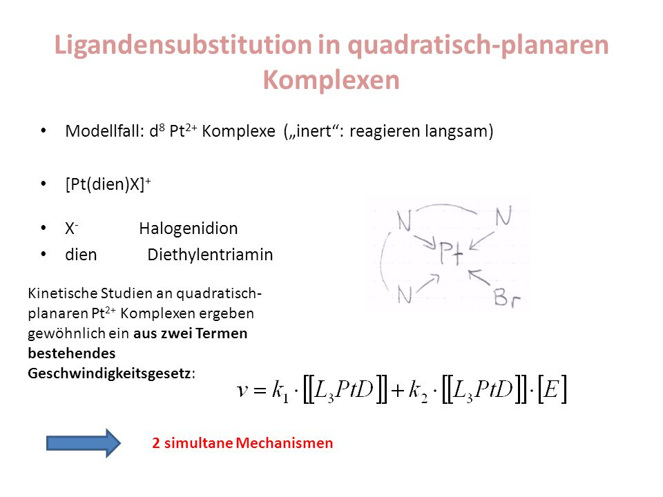 "Ligandensubstitution in quadratisch-planaren Komplexen Modellfall: d 8 Pt 2+ Komplexe (""inert"": reagieren langsam) [Pt(dien)X] + X - Halogenidion dien"