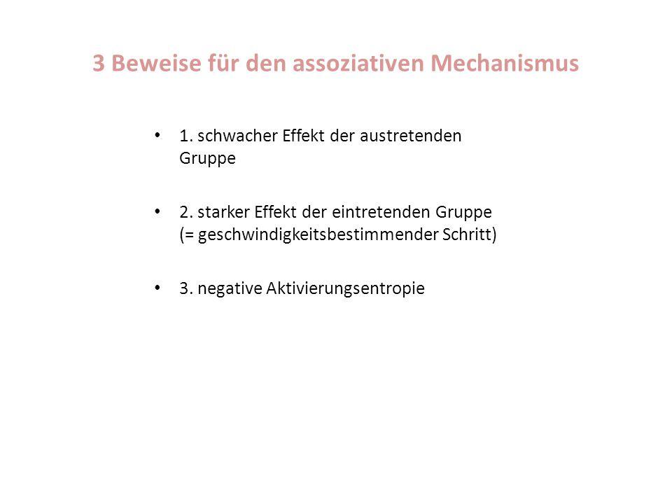 3 Beweise für den assoziativen Mechanismus 1. schwacher Effekt der austretenden Gruppe 2. starker Effekt der eintretenden Gruppe (= geschwindigkeitsbe