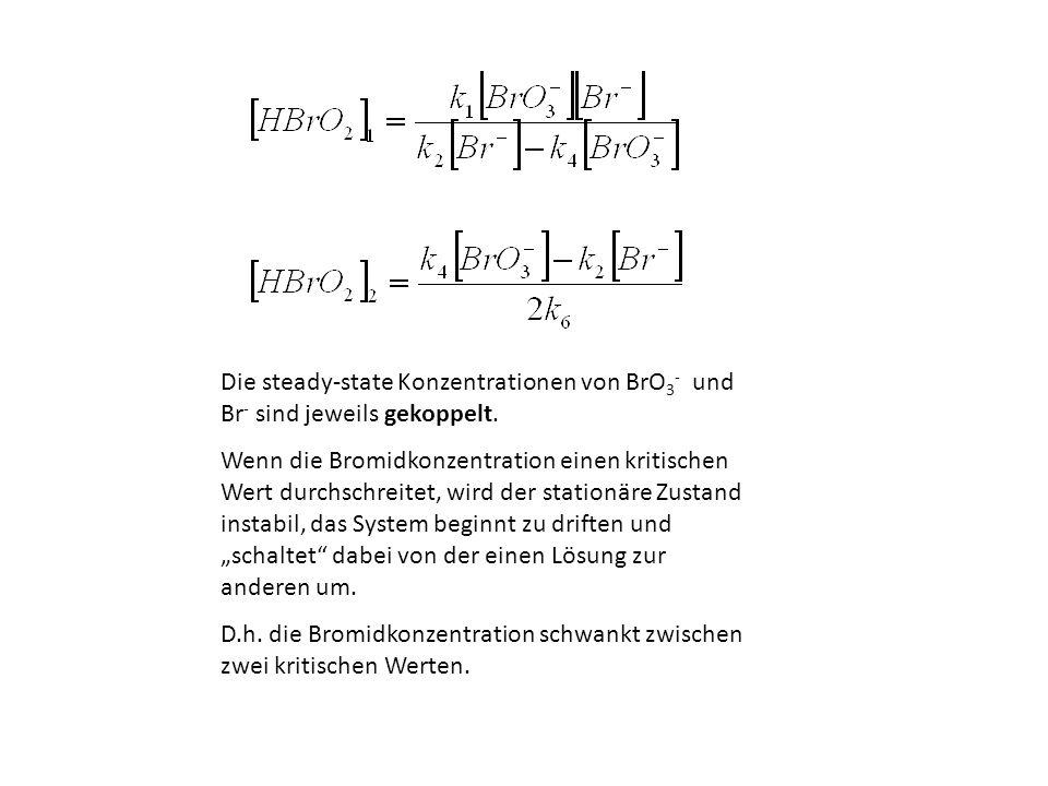 Die steady-state Konzentrationen von BrO 3 - und Br - sind jeweils gekoppelt. Wenn die Bromidkonzentration einen kritischen Wert durchschreitet, wird