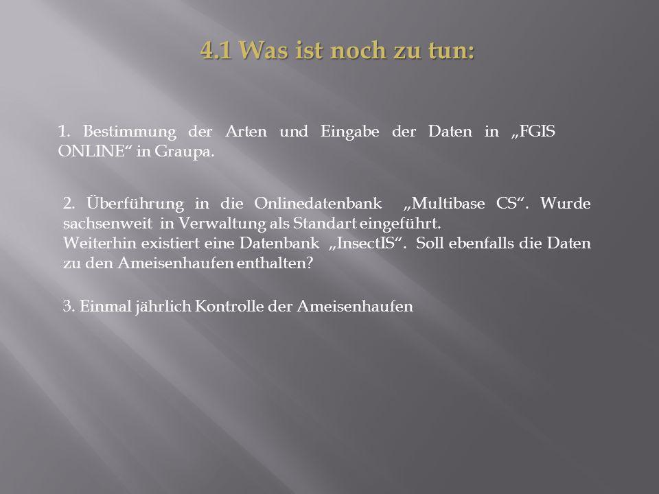 """4.1 Was ist noch zu tun: 1. Bestimmung der Arten und Eingabe der Daten in """"FGIS ONLINE"""" in Graupa. 2. Überführung in die Onlinedatenbank """"Multibase CS"""