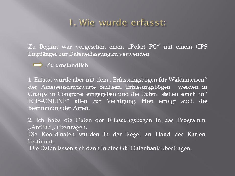 """1. Erfasst wurde aber mit dem """"Erfassungsbogen für Waldameisen"""" der Ameisenschutzwarte Sachsen. Erfassungsbögen werden in Graupa in Computer eingegebe"""