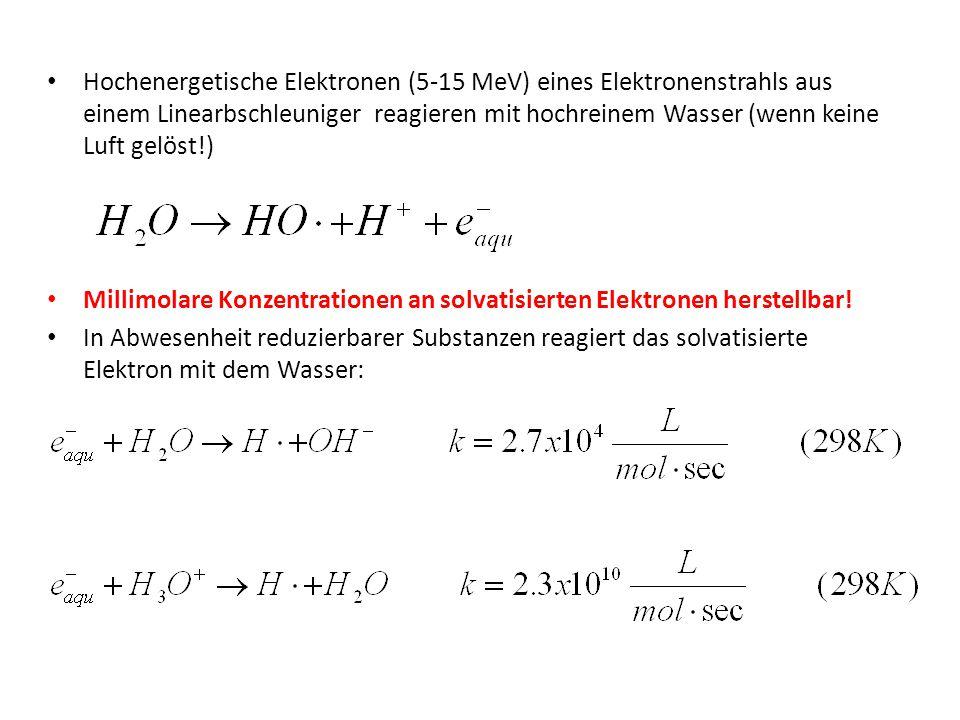 Hochenergetische Elektronen (5-15 MeV) eines Elektronenstrahls aus einem Linearbschleuniger reagieren mit hochreinem Wasser (wenn keine Luft gelöst!)