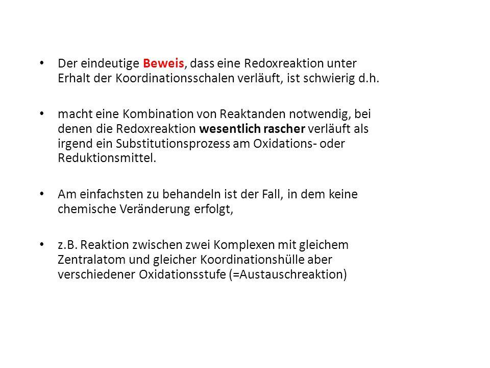 Der eindeutige Beweis, dass eine Redoxreaktion unter Erhalt der Koordinationsschalen verläuft, ist schwierig d.h. macht eine Kombination von Reaktande