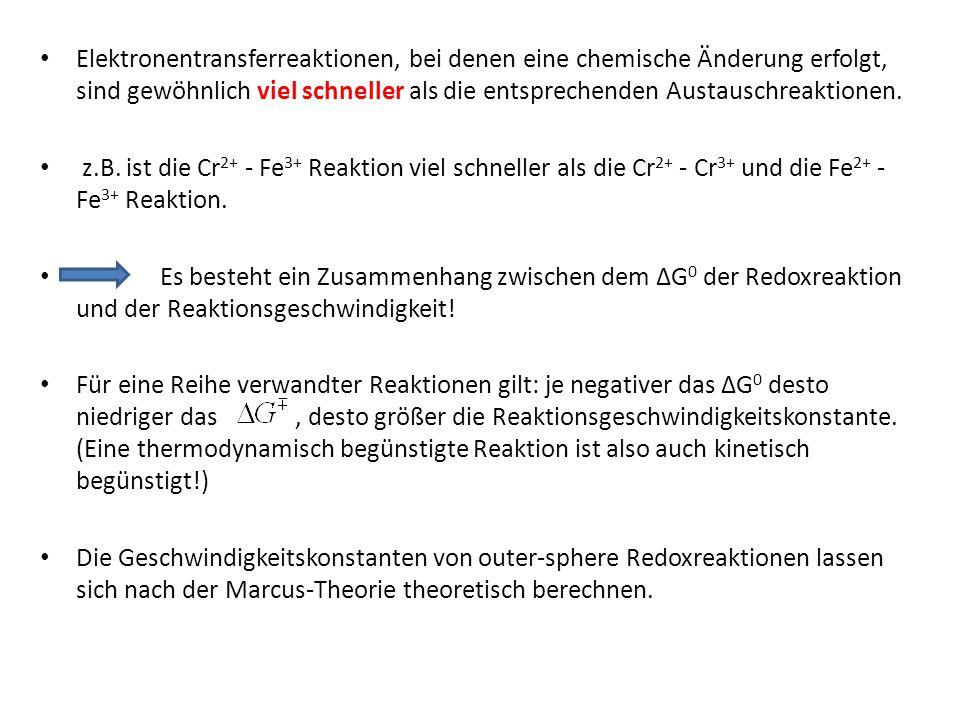 Elektronentransferreaktionen, bei denen eine chemische Änderung erfolgt, sind gewöhnlich viel schneller als die entsprechenden Austauschreaktionen. z.