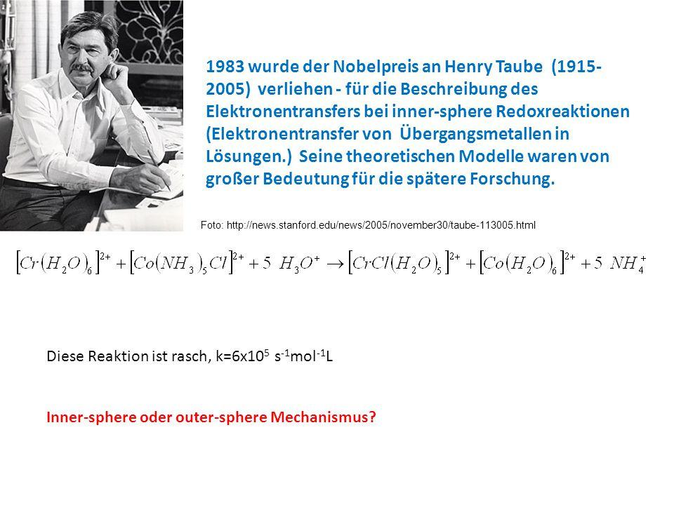 1983 wurde der Nobelpreis an Henry Taube (1915- 2005) verliehen - für die Beschreibung des Elektronentransfers bei inner-sphere Redoxreaktionen (Elekt