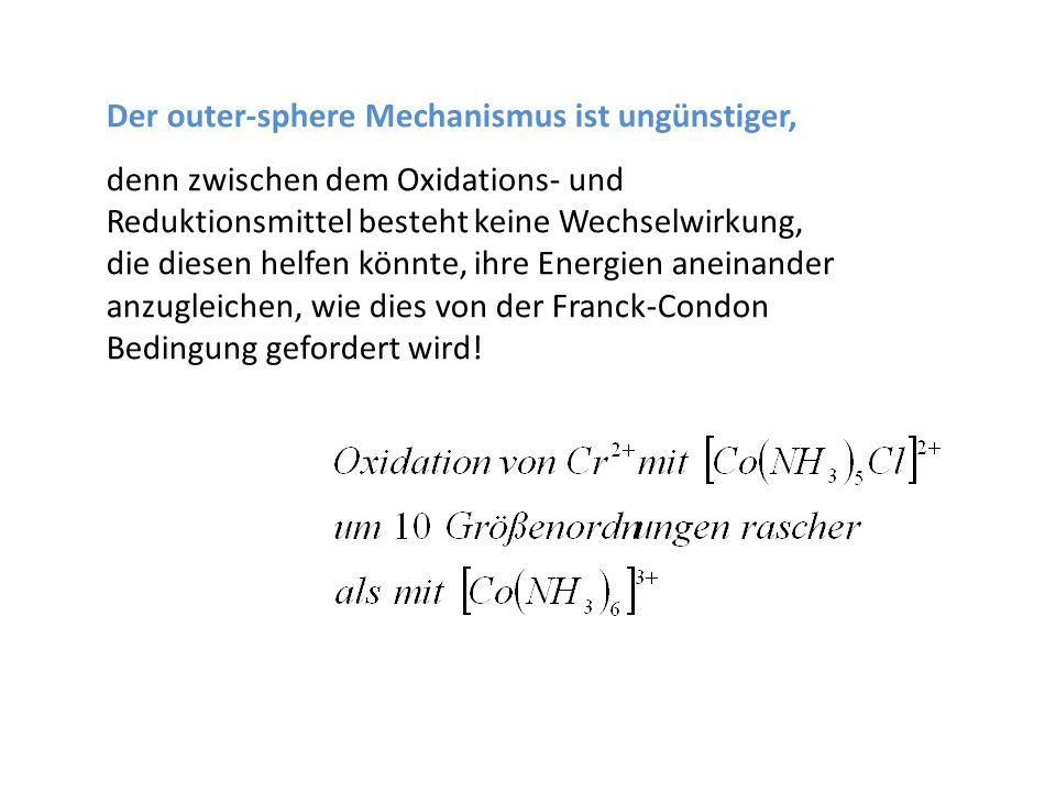 Der outer-sphere Mechanismus ist ungünstiger, denn zwischen dem Oxidations- und Reduktionsmittel besteht keine Wechselwirkung, die diesen helfen könnt