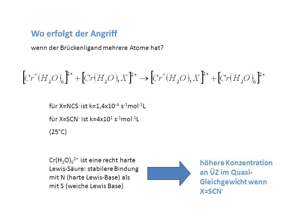 Wo erfolgt der Angriff wenn der Brückenligand mehrere Atome hat? für X=NCS - ist k=1,4x10 -4 s -1 mol -1 L für X=SCN - ist k=4x10 1 s -1 mol -1 L (25°
