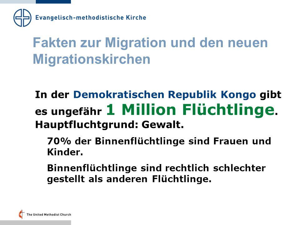 Fakten zur Migration und den neuen Migrationskirchen Migrationsgründe Schlechte Lebensbedingungen Die Bevölkerung wächst, die wirtschaftliche Entwicklung stockt Gewalt und Machtmissbrauch zwingt zur Flucht Reiche Industriestaaten werden erreichbar