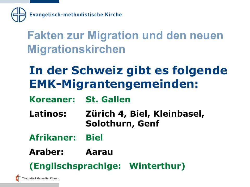 Fakten zur Migration und den neuen Migrationskirchen In Frankreich gibt es folgende EMK-Migrantengemeinden: Kambodschaner:Strasbourg, Paris Afrikaner, Haitianer:Paris Eingemietet in Räumen der EMK sind chinesische und kambodschanische Migrantengemeinden