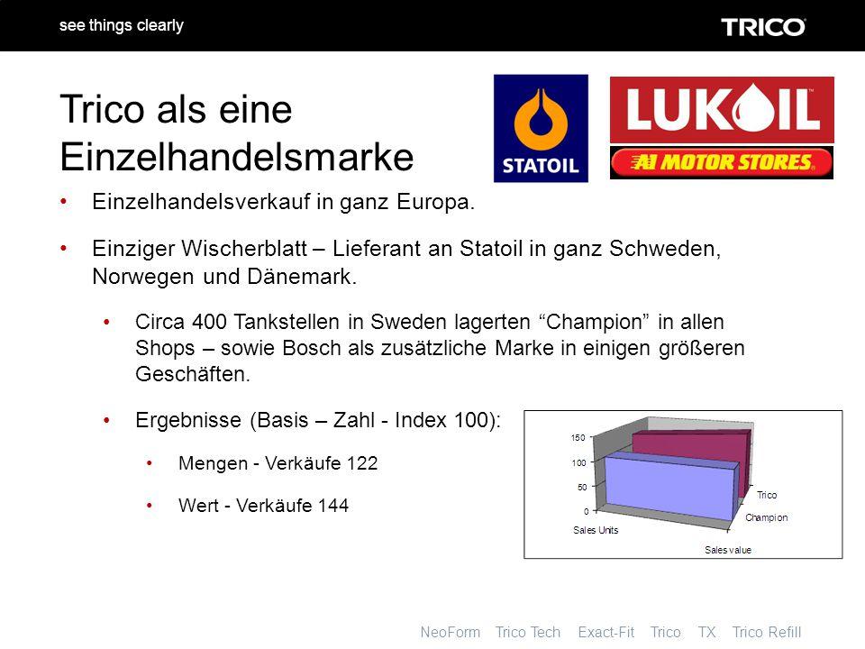 NeoForm Trico Tech Exact-Fit Trico TX Trico Refill see things clearly Trico als eine Einzelhandelsmarke Einzelhandelsverkauf in ganz Europa.