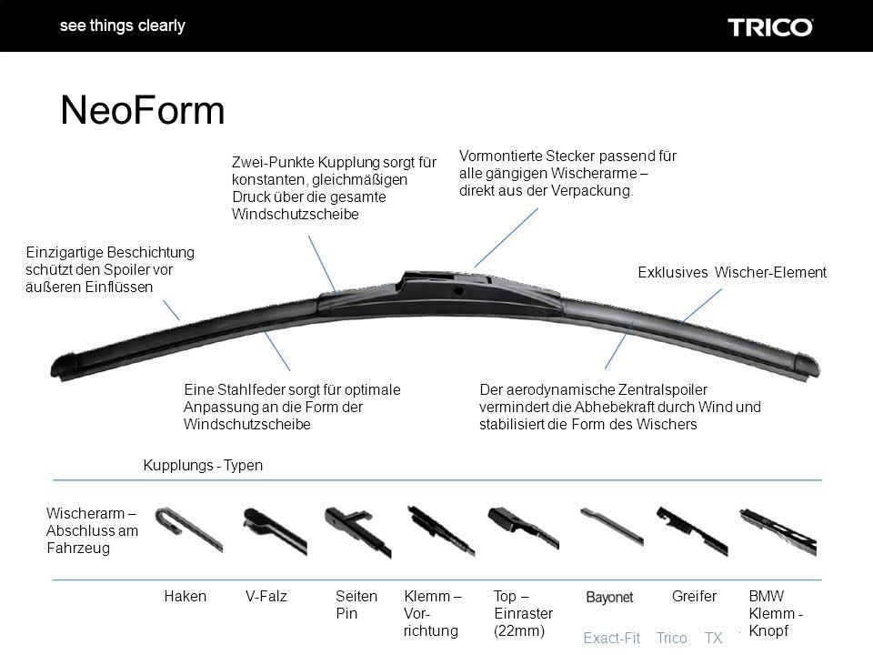 NeoForm Trico Tech Exact-Fit Trico TX Trico Refill see things clearly NeoForm Zwei-Punkte Kupplung sorgt für konstanten, gleichmäßigen Druck über die gesamte Windschutzscheibe Vormontierte Stecker passend für alle gängigen Wischerarme – direkt aus der Verpackung.
