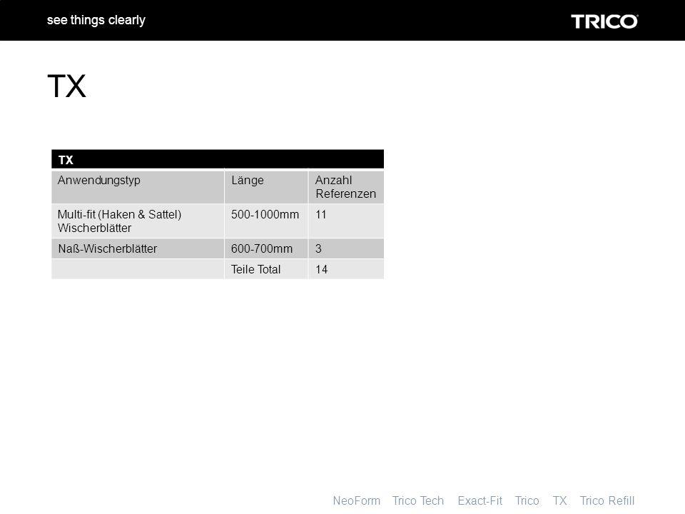 NeoForm Trico Tech Exact-Fit Trico TX Trico Refill see things clearly TX AnwendungstypLängeAnzahl Referenzen Multi-fit (Haken & Sattel) Wischerblätter 500-1000mm11 Naß-Wischerblätter600-700mm3 Teile Total14 TX