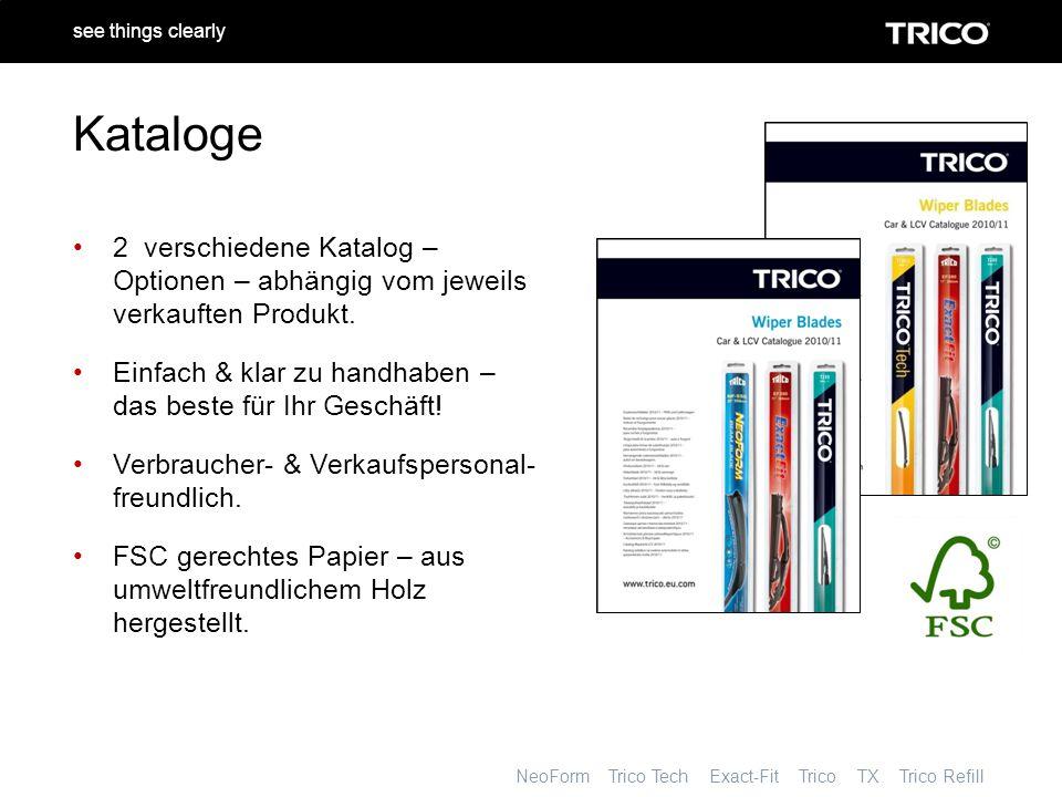NeoForm Trico Tech Exact-Fit Trico TX Trico Refill see things clearly Kataloge 2 verschiedene Katalog – Optionen – abhängig vom jeweils verkauften Produkt.
