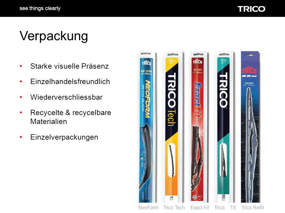 NeoForm Trico Tech Exact-Fit Trico TX Trico Refill see things clearly Verpackung Starke visuelle Präsenz Einzelhandelsfreundlich Wiederverschliessbar Recycelte & recycelbare Materialien Einzelverpackungen
