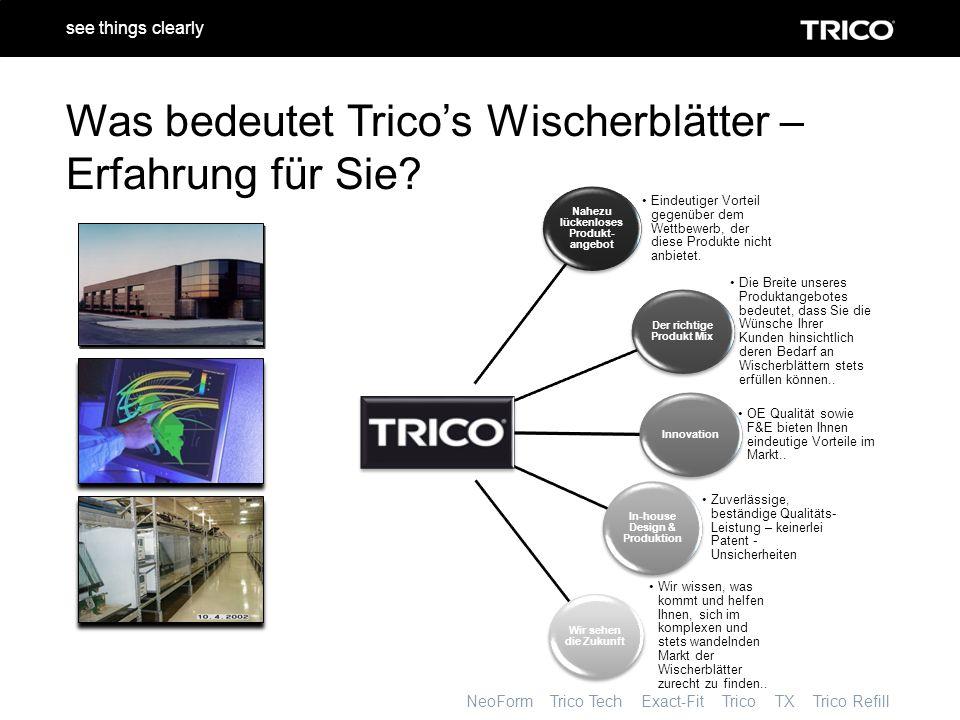 NeoForm Trico Tech Exact-Fit Trico TX Trico Refill see things clearly Verbessertes Geschäft Training Vor – Ort Werbe- Aktionen Produkt- Präsentation Anwender- freundlicher Katalog (Verbraucher – getestet) Dynamische, zweck- mäßige Verpackung Wir unterstützen Ihr Geschäft