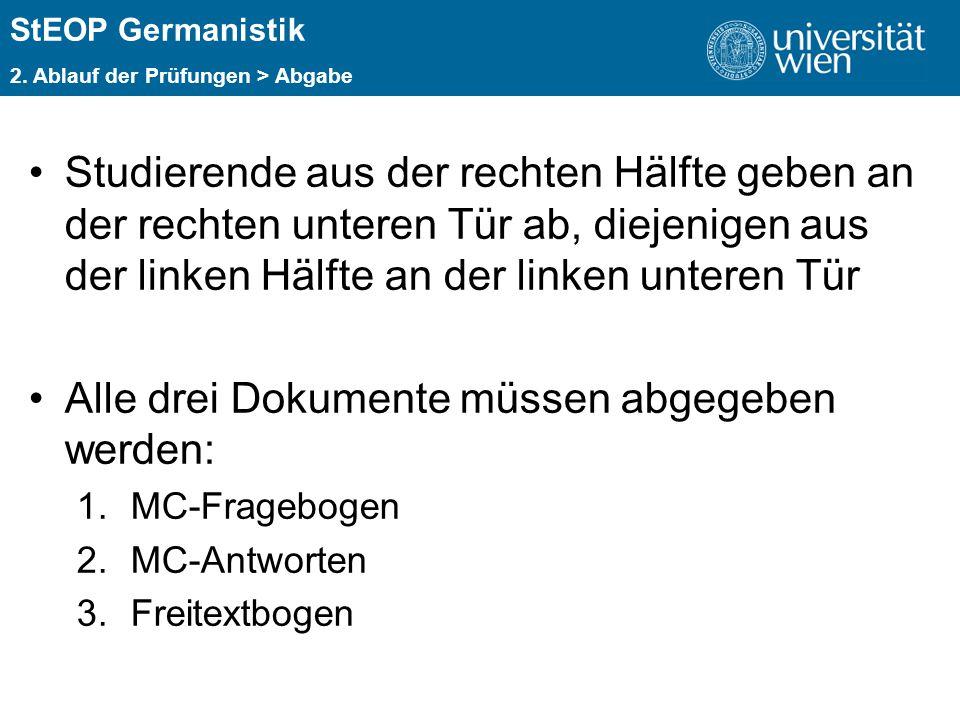 ÜBERSCHRIFT StEOP Germanistik 2. Ablauf der Prüfungen > Abgabe Studierende aus der rechten Hälfte geben an der rechten unteren Tür ab, diejenigen aus