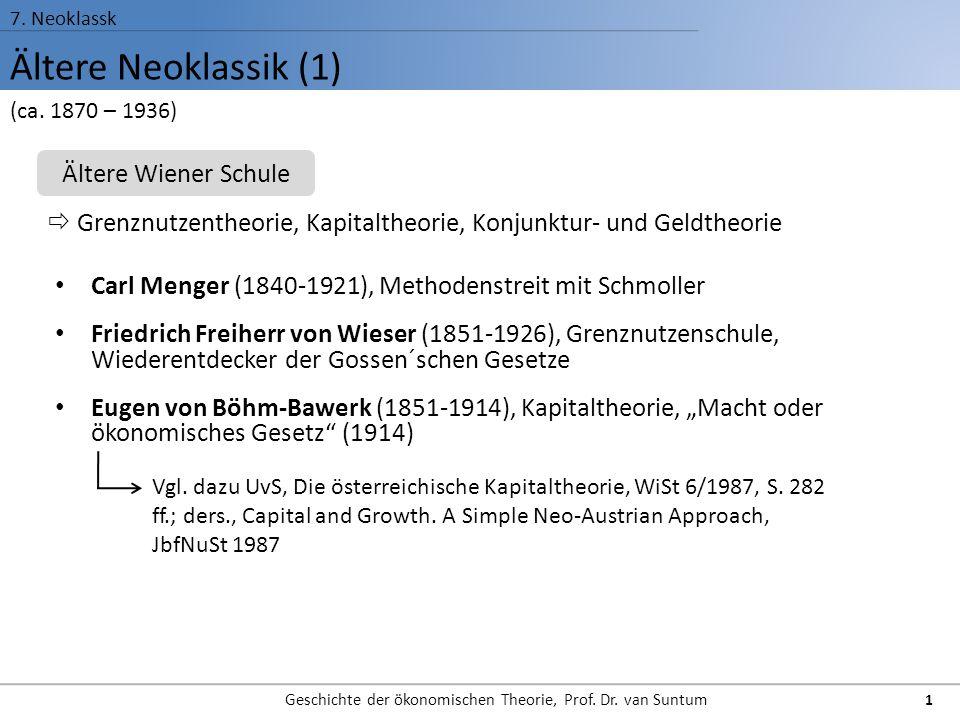 Ältere Neoklassik (1) 7. Neoklassk Geschichte der ökonomischen Theorie, Prof. Dr. van Suntum 1 Carl Menger (1840-1921), Methodenstreit mit Schmoller F