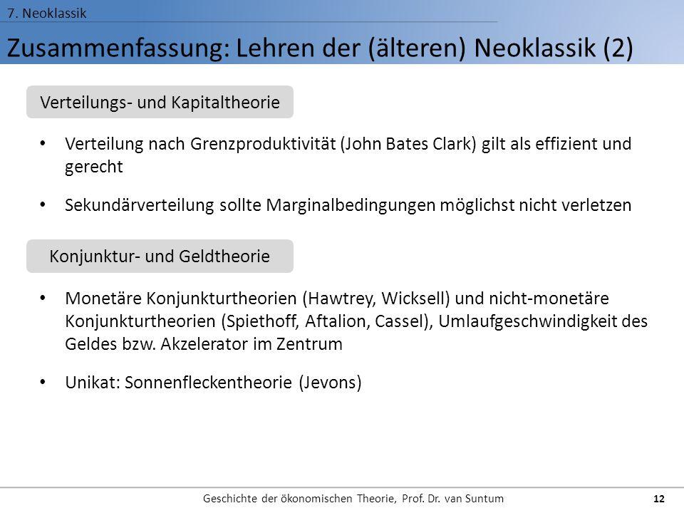 Zusammenfassung: Lehren der (älteren) Neoklassik (2) 7. Neoklassik Geschichte der ökonomischen Theorie, Prof. Dr. van Suntum 12 Verteilung nach Grenzp